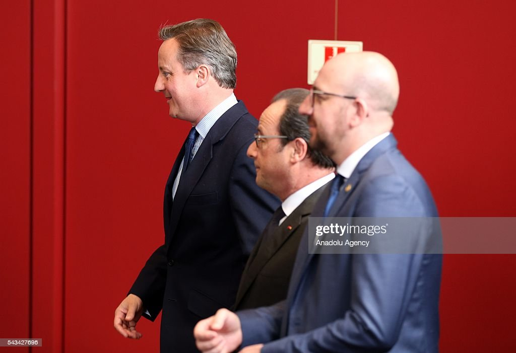 British PM David Cameron (L), French President Francois Hollande and Prime Minister of Belgium Charles Michel (R) attend the EU summit meeting on June 28, 2016 at the European Union headquarters in Brussels.