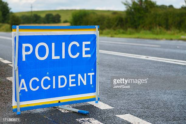 British police accident sign at the side of the road.