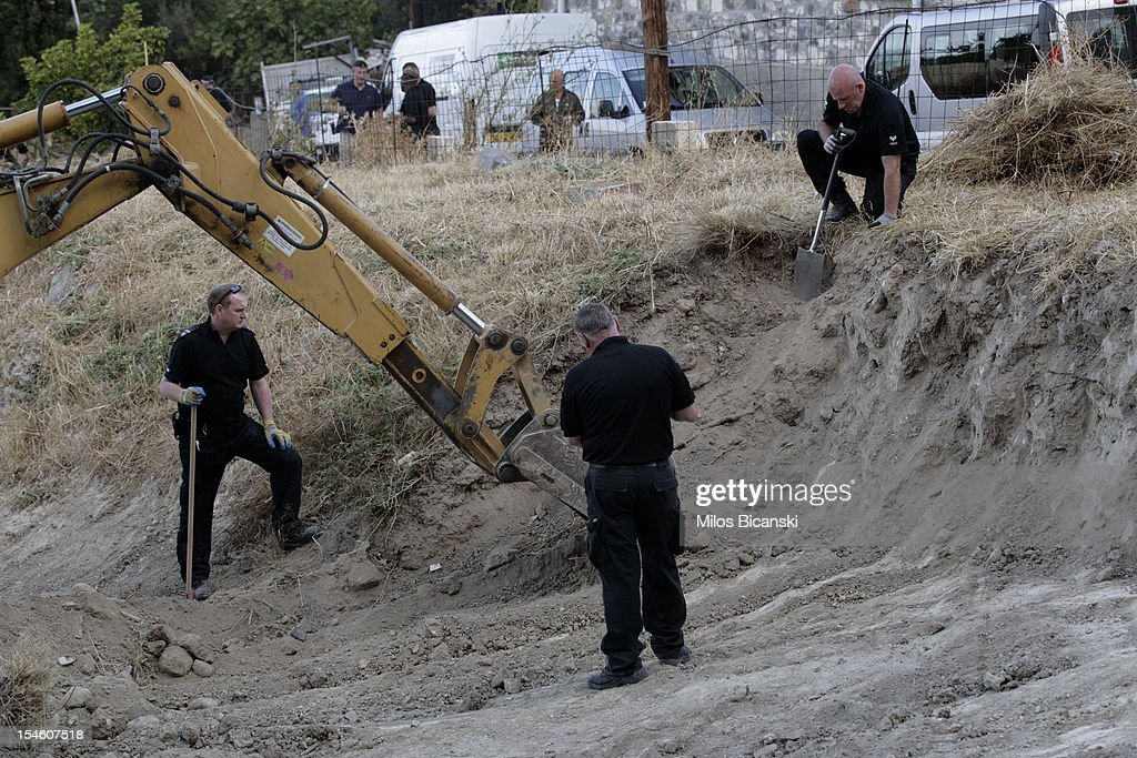 British police search for missing toddler Ben Needham on October 23, 2012 in Kos, Greece. The toddler from Sheffield was 21 months old when he vanished on the Greek island in July of 1991. Specialist British search teams and Greek police started excavating the site last week.