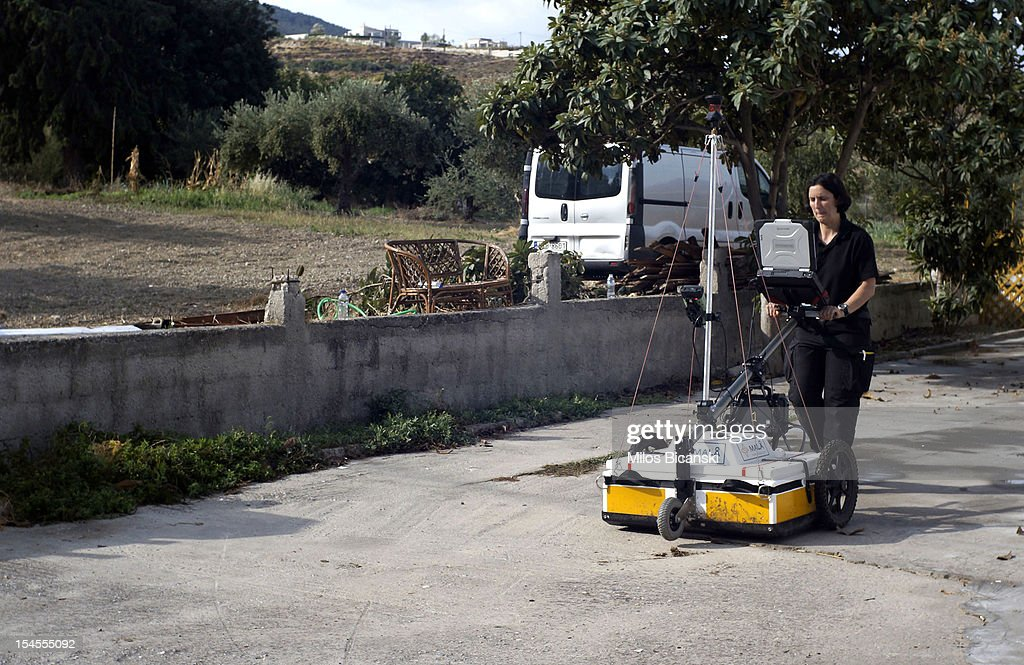 British police use ground-scanning equipment as they continue the search for Ben Needham, who went missing 21 years ago, on October 22, 2012 in Kos, Greece. The toddler from Sheffield was 21 months old when he vanished on the Greek island in July, 1991. Specialist British search teams and Greek police started excavating the site last week.