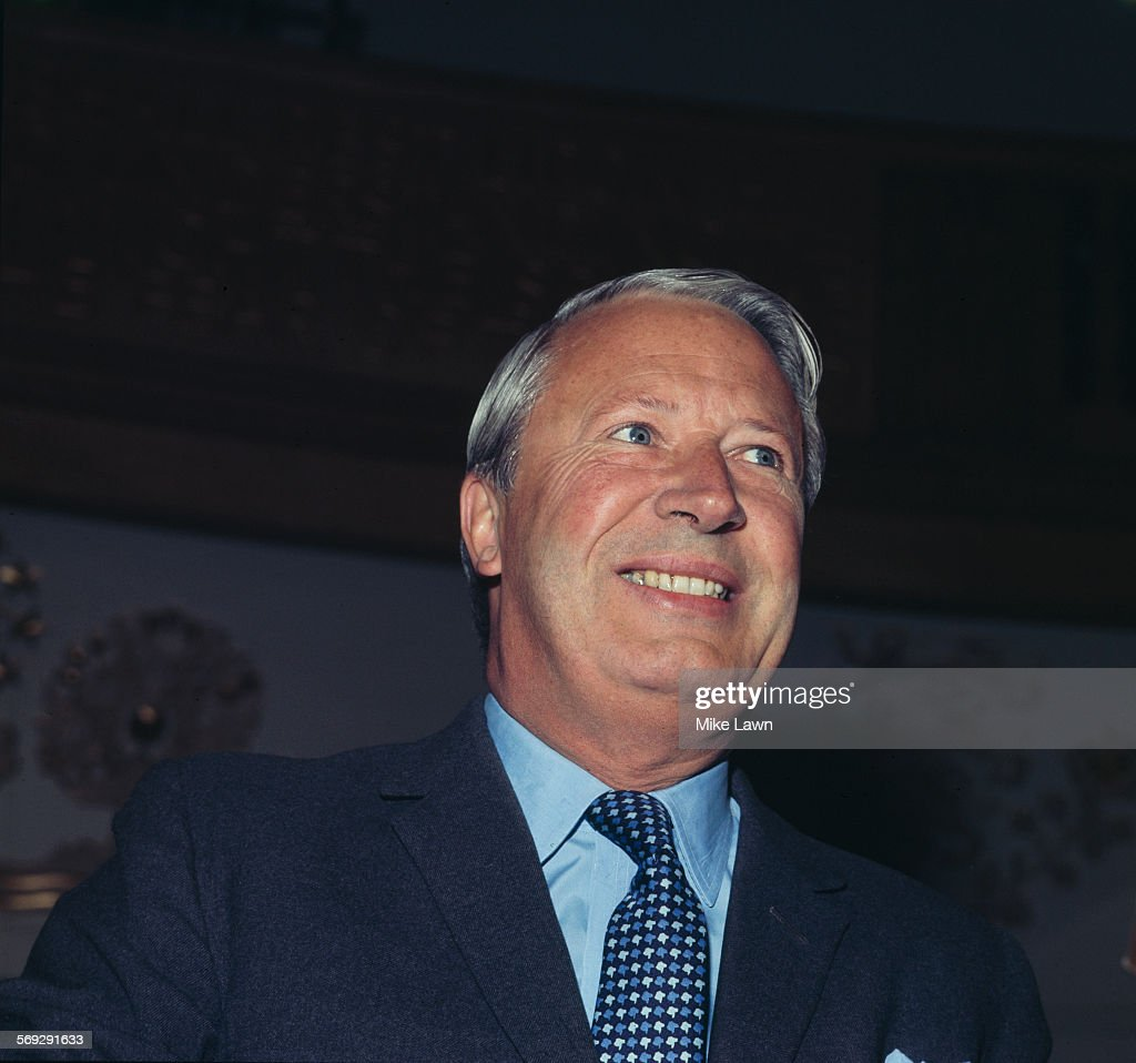 British politician and Leader of the Conservative Party Edward Heath at a press conference May 1970 He became Prime Minister the following June after...