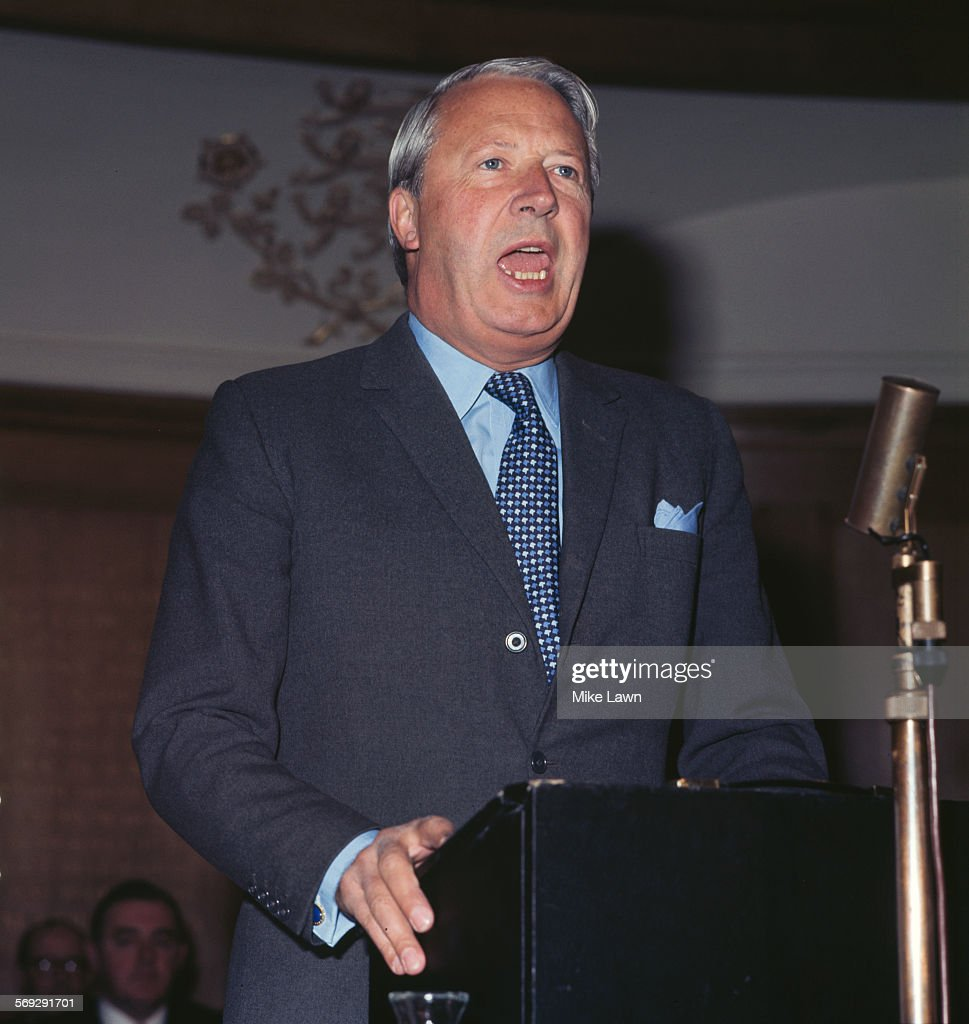 British politician and Leader of the Conservative Party, <a gi-track='captionPersonalityLinkClicked' href=/galleries/search?phrase=Edward+Heath&family=editorial&specificpeople=158692 ng-click='$event.stopPropagation()'>Edward Heath</a> (1916 - 2005) at a press conference, May 1970. He became Prime Minister the following June after a surprise victory in the UK general election.