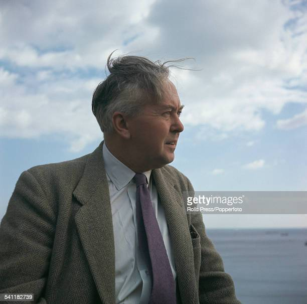 British politician and leader of the Labour Party Harold Wilson pictured standing on the seafront at Scarborough Yorkshire during the 1963 Labour...