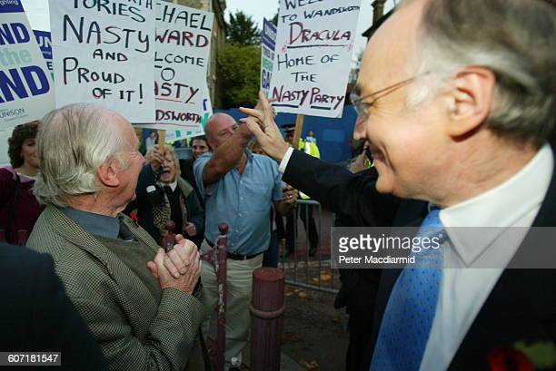British politician and Leader of the Opposition Michael Howard greets supporters England November 6 2003