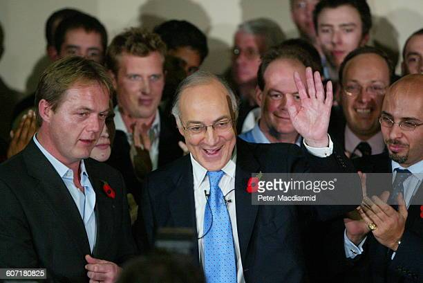 British politician and Leader of the Opposition Michael Howard waves to supporters England November 6 2003