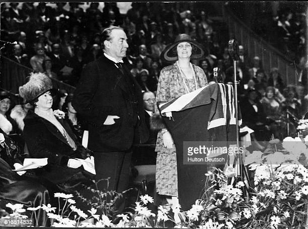 British politician and Prime Minister Stanley Baldwin and Lady Iveagh at a meeting held in connection with the Annual Conference of the Women's...