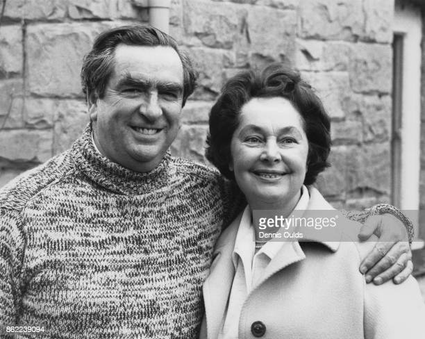 British politician Denis Healey the Chancellor of the Exchequer with his wife Edna at their home Windlesham Lodge in Withyham East Sussex 12th April...