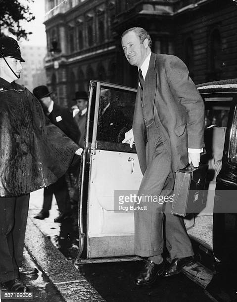 British politician Duncan Sandys Minister of Defense arriving at 10 Downing Street for a Cabinet Meeting London July 16th 1958