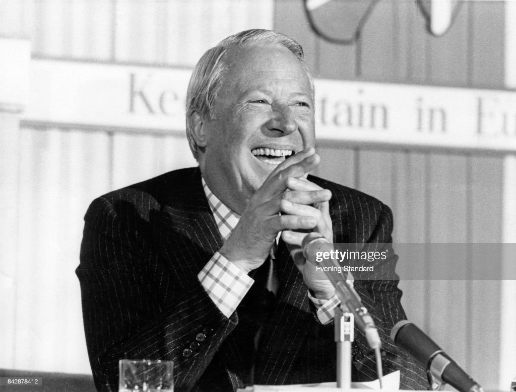 British politician Edward Heath (1916 - 2005) at an EEC (European Economic Community) meeting, 4th June 1975. The sign behind him reads 'Keep Britain' in Europe'.