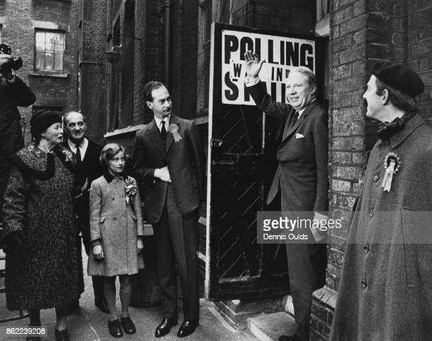 British politician Edward Heath leader of the Conservative Party leaves a polling station in the West End of London after voting in the general...