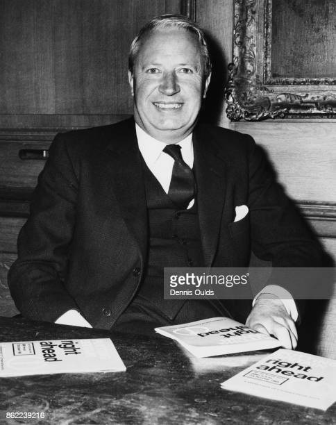 British politician Edward Heath leader of the Conservative Party introduces his party's manifesto 'Putting Britain Right Ahead' at Church House...