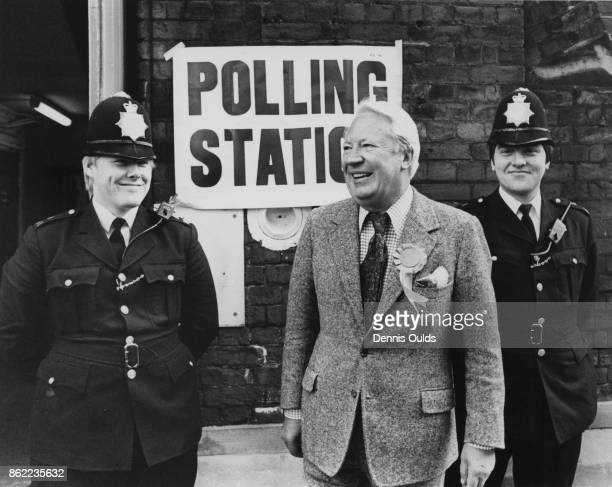 British politician Edward Heath leaves the polling station at St Peter's School London after casting his vote in the general election 3rd May 1979