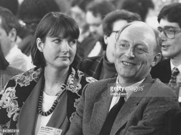 British politician Harriet Harman the Shadow Secretary for Health with Labour leader Neil Kinnock UK 1992