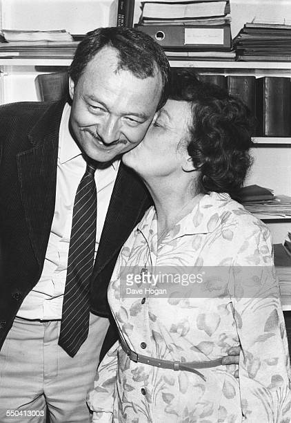 British politician Ken Livingstone being kissed on the cheek by his mum Ethel circa 1987