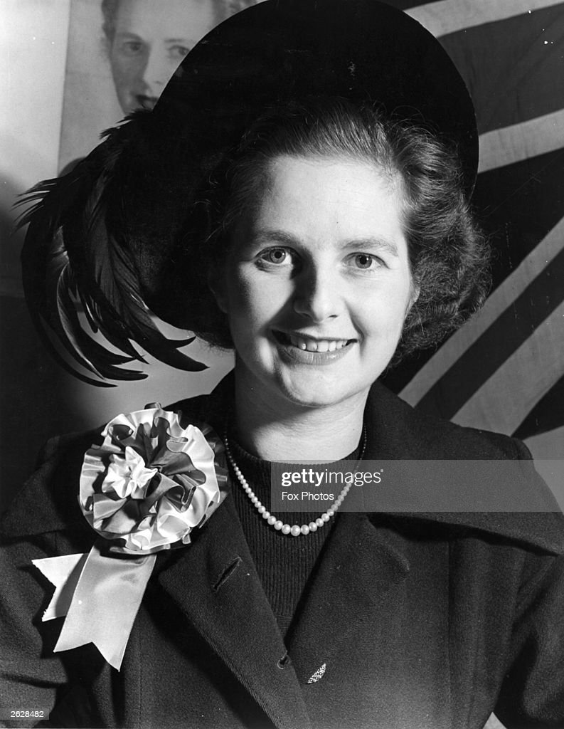 British politician Miss Margaret Roberts (later <a gi-track='captionPersonalityLinkClicked' href=/galleries/search?phrase=Margaret+Thatcher&family=editorial&specificpeople=159677 ng-click='$event.stopPropagation()'>Margaret Thatcher</a>) during a canvassing tour of the constituency.
