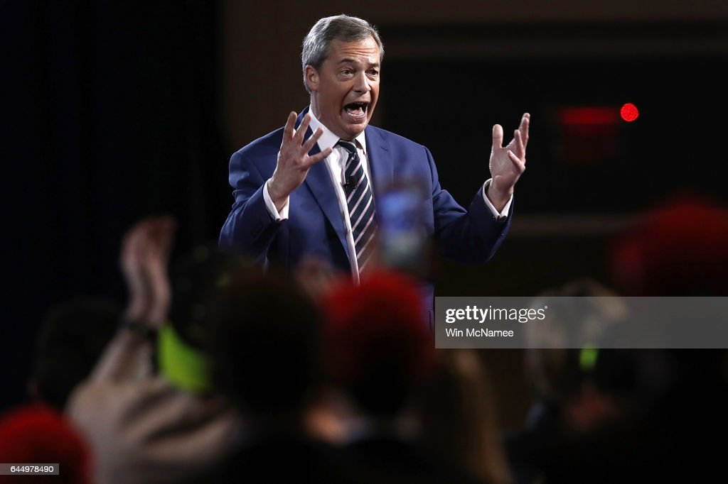British politician Nigel Farage addresses the Conservative Political Action Conference at the Gaylord National Resort and Convention Center February 24, 2017 in National Harbor, Maryland. Hosted by the American Conservative Union, CPAC is an annual gathering of right wing politicians, commentators and their supporters.