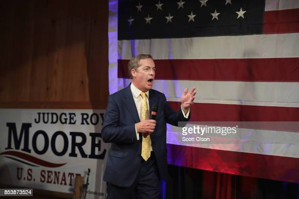 British politician Nigel Farage speaks at a campaign event for Republican candidate for the US Senate in Alabama Roy Moore on September 25 2017 in...