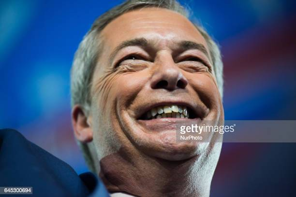 British politician Nigel Farage speaks during the Conservative Political Action Conference at the Gaylord National Resort and Convention Center...