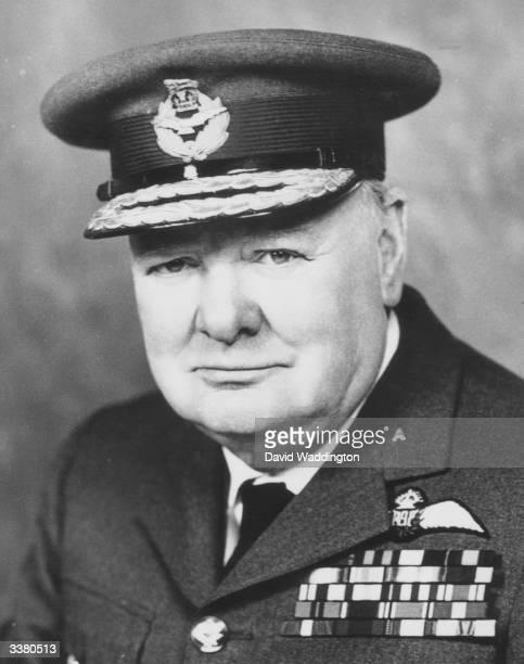 British politician Winston Churchill wearing Royal Air Force uniform