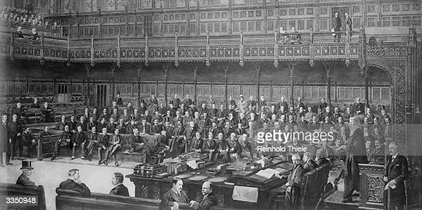 British politicians in the House of Commons the seat of the British legislature in London