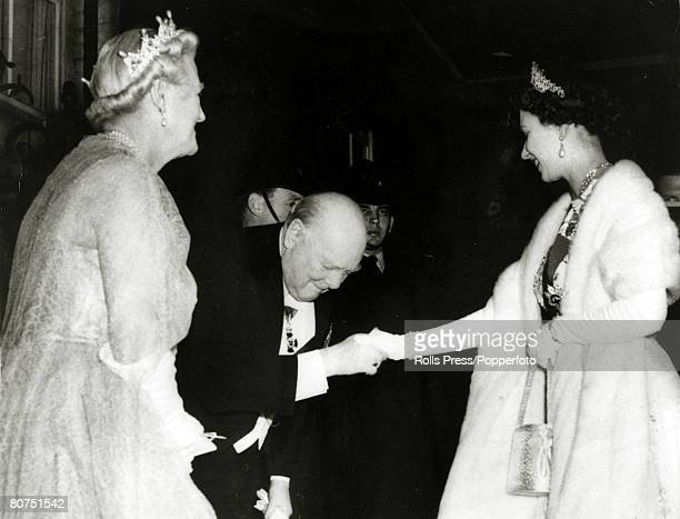 April 1955 Sir Winston Churchill watched by Lady Churchill greets HMQueen Elizabeth II as she arrives at No 10 Downing Street London This at the time...