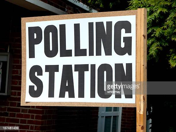 British polling station sign and entrance
