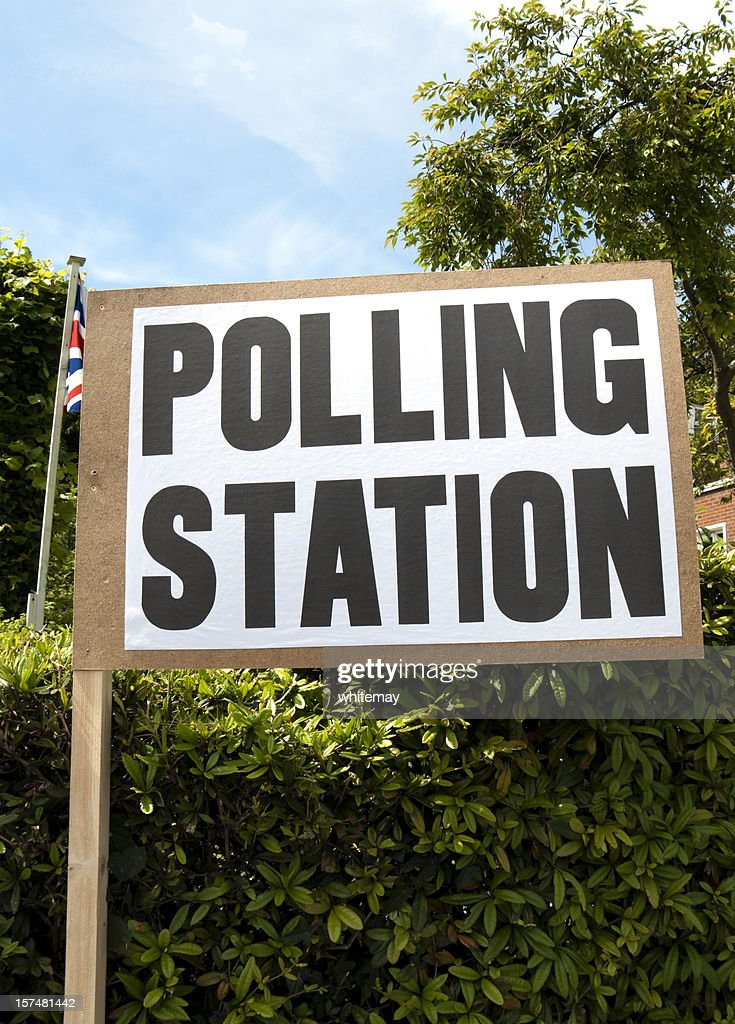 British polling station sign with Union Jack : Stock Photo