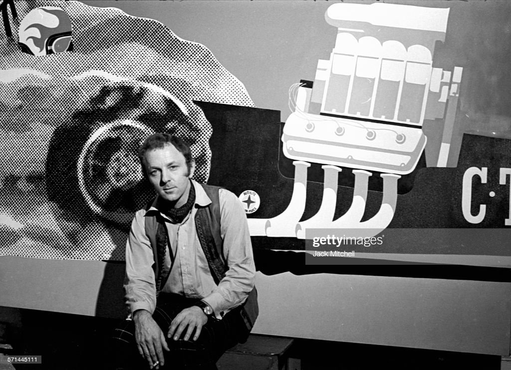 British pop artist and sculptor <a gi-track='captionPersonalityLinkClicked' href=/galleries/search?phrase=Gerald+Laing&family=editorial&specificpeople=1297216 ng-click='$event.stopPropagation()'>Gerald Laing</a> in his studio on October 30, 1968.