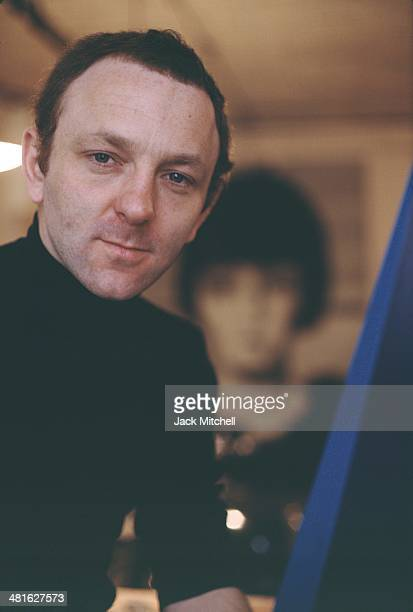 British pop artist and sculptor Gerald Laing photographed in his New York City studio in 1968