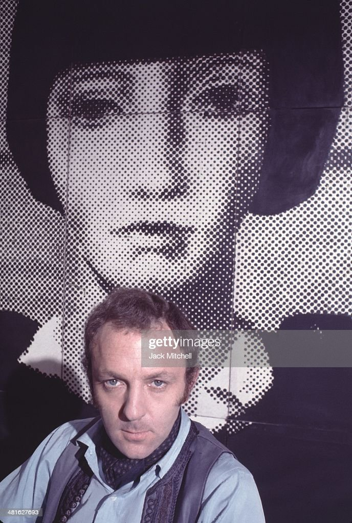 British pop artist and sculptor <a gi-track='captionPersonalityLinkClicked' href=/galleries/search?phrase=Gerald+Laing&family=editorial&specificpeople=1297216 ng-click='$event.stopPropagation()'>Gerald Laing</a> photographed in his New York City studio in 1968.