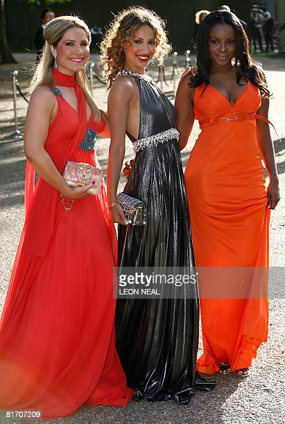 British pop band Sugababes arrive at Nelson Mandela's birthday dinner in Hyde park London on June 25 2008 With a concert to celebrate his 90th...