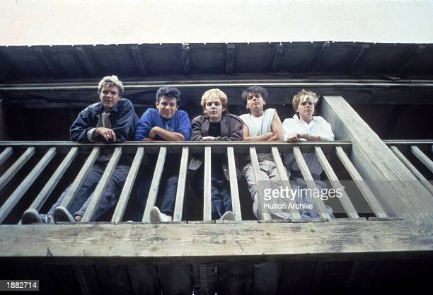 British pop group Duran Duran looking down from a balcony c 1983 LR Singer Simon Le Bon bassist Andy Taylor keyboardist Nick Rhodes drummer Roger...