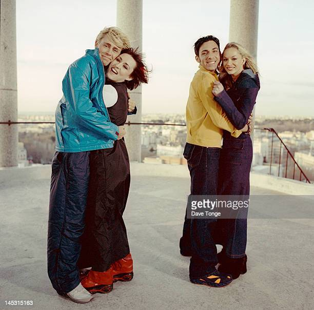 British pop group Scooch Barcelona Spain February 1999 Left to right Russ Spencer Natalie Powers David Ducasse and Caroline Barnes The group...