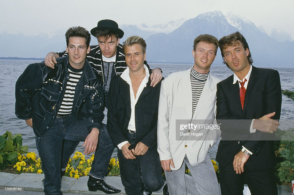 British pop group Spandau Ballet, 1987. Left to right: singer <a gi-track='captionPersonalityLinkClicked' href=/galleries/search?phrase=Tony+Hadley&family=editorial&specificpeople=214652 ng-click='$event.stopPropagation()'>Tony Hadley</a>, drummer <a gi-track='captionPersonalityLinkClicked' href=/galleries/search?phrase=John+Keeble&family=editorial&specificpeople=2011250 ng-click='$event.stopPropagation()'>John Keeble</a>, saxophonist <a gi-track='captionPersonalityLinkClicked' href=/galleries/search?phrase=Steve+Norman&family=editorial&specificpeople=1573333 ng-click='$event.stopPropagation()'>Steve Norman</a>, guitarist <a gi-track='captionPersonalityLinkClicked' href=/galleries/search?phrase=Gary+Kemp&family=editorial&specificpeople=213076 ng-click='$event.stopPropagation()'>Gary Kemp</a> and bassist <a gi-track='captionPersonalityLinkClicked' href=/galleries/search?phrase=Martin+Kemp&family=editorial&specificpeople=213385 ng-click='$event.stopPropagation()'>Martin Kemp</a>.