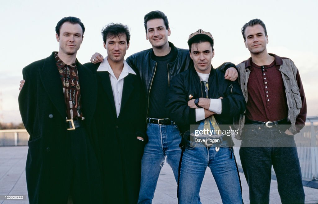 British pop group Spandau Ballet, circa 1985. Left to right: guitarist <a gi-track='captionPersonalityLinkClicked' href=/galleries/search?phrase=Gary+Kemp&family=editorial&specificpeople=213076 ng-click='$event.stopPropagation()'>Gary Kemp</a>, bassist <a gi-track='captionPersonalityLinkClicked' href=/galleries/search?phrase=Martin+Kemp&family=editorial&specificpeople=213385 ng-click='$event.stopPropagation()'>Martin Kemp</a>, singer <a gi-track='captionPersonalityLinkClicked' href=/galleries/search?phrase=Tony+Hadley&family=editorial&specificpeople=214652 ng-click='$event.stopPropagation()'>Tony Hadley</a>, drummer <a gi-track='captionPersonalityLinkClicked' href=/galleries/search?phrase=John+Keeble&family=editorial&specificpeople=2011250 ng-click='$event.stopPropagation()'>John Keeble</a> and saxophonist <a gi-track='captionPersonalityLinkClicked' href=/galleries/search?phrase=Steve+Norman&family=editorial&specificpeople=1573333 ng-click='$event.stopPropagation()'>Steve Norman</a>.