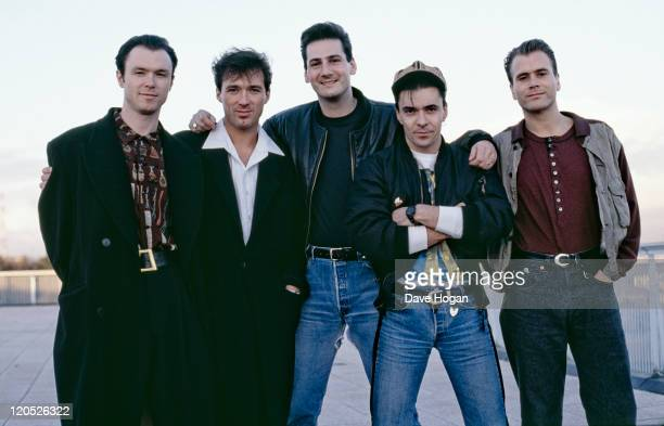 British pop group Spandau Ballet circa 1985 Left to right guitarist Gary Kemp bassist Martin Kemp singer Tony Hadley drummer John Keeble and...
