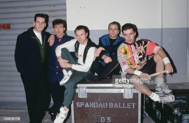 British pop group Spandau Ballet circa 1985 Left to right singer Tony Hadley bassist Martin Kemp guitarist Gary Kemp saxophonist Steve Norman and...