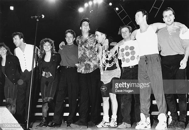 British pop group Spandau Ballet start their European tour in Rome accompanied by members of their families 1990 The musicians are bassist Martin...