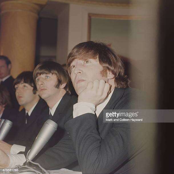 British pop group The Beatles at a press reception held at the Saville Theatre after their MBE Investiture ceremony at Buckingham Palace London 26th...
