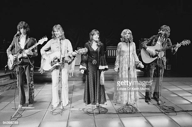 British pop group The New Seekers in concert 1977 From left to right Paul Layton Marty Kristian Eve Graham Lyn Paul and Peter Doyle