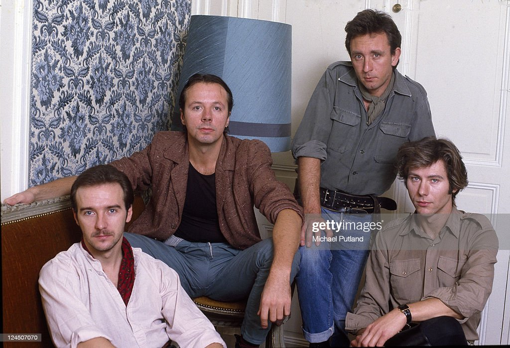 British pop group Ultravox group portrait Paris 1982 Left to right singer Midge Ure keyboard player Billy Currie bassist Chris Cross and drummer...