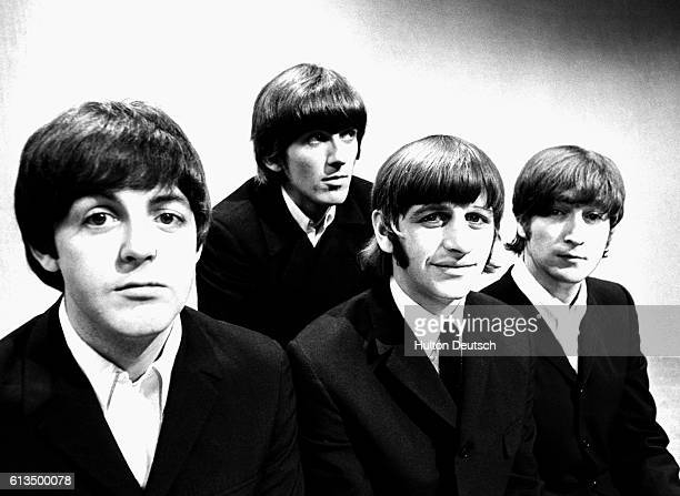 British pop music group The Beatles one week before their tour to Germany and Japan LR Paul McCartney George Harrison Ringo Starr John Lennon London...