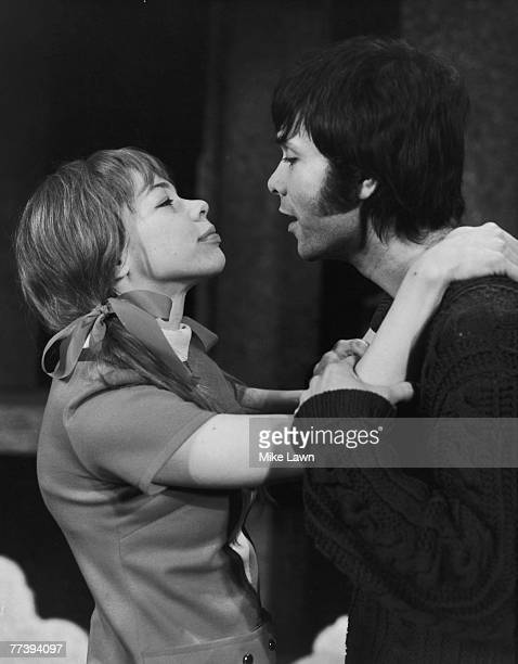 British pop singer Cliff Richard and actress Pamela Denton in a scene from Peter Shaffer's play 'Five Finger Exercise' during rehearsals at the...
