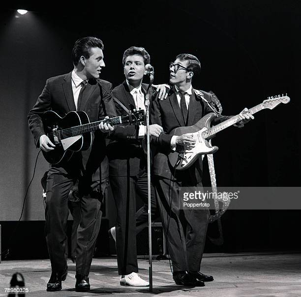 1959 British Pop singer Cliff Richard rehearses with the Shadows at the London Palladium for the popular TV show 'Sunday night at the Palladium'