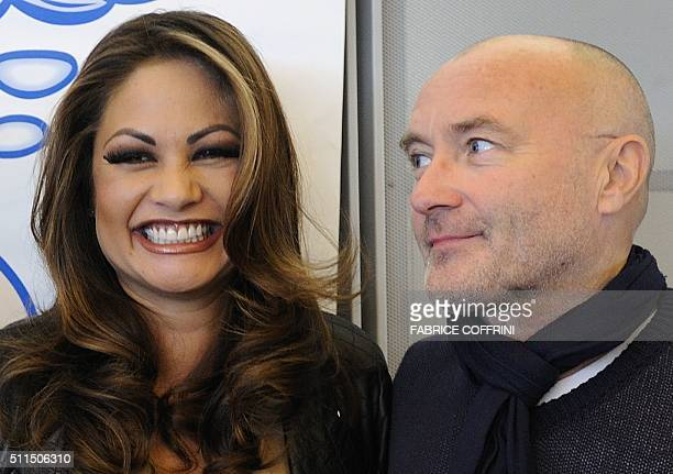 British pop star Phil Collins poses with his former wife Orianne during a press conference about their 'Little Dreams Foundation' on October 21 2010...