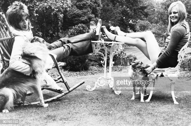British pop star Rod Stewart with his fiancee