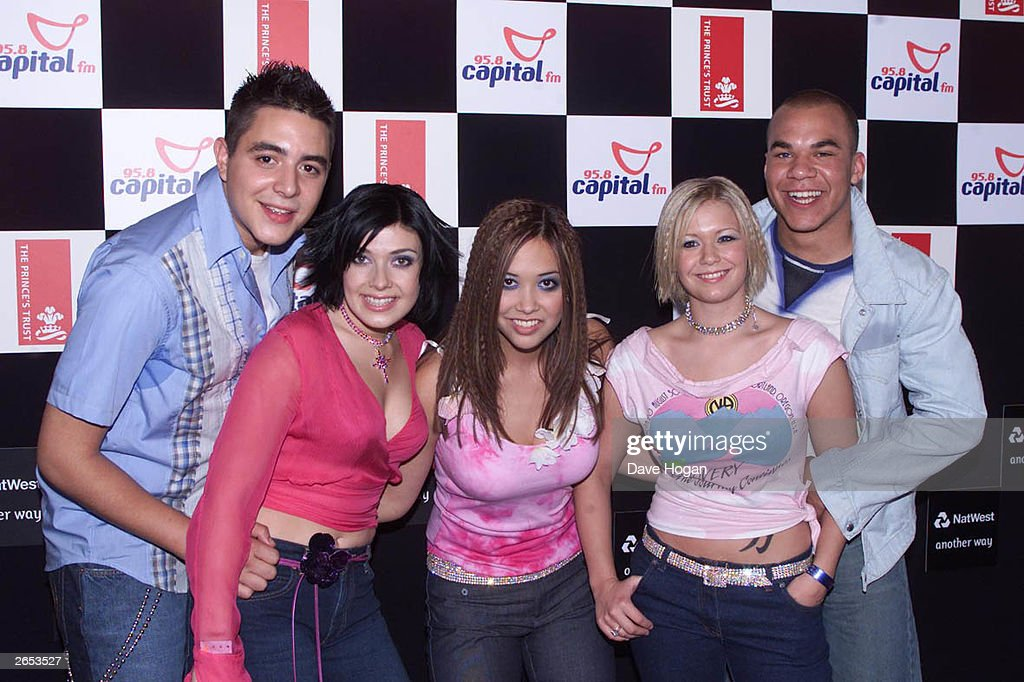 British pop stars Noel Sullivan, Kym Marsh, Myleene Klass, Suzanne Shaw and Danny Foster of the pop group 'Hear'Say' arrive at the annual 'Party in the Park' in Hyde Park on July 8, 2001 in London.