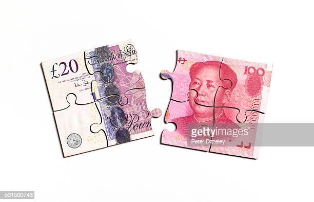British pound note and chinese yuan note jigsaw