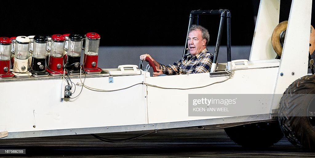 British presenter Jeremy Clarkson performs during the rehearsal of Top Gear Live at the Ziggo Dome in Amsterdam on April 26, 2013. The presenters of the BBC television program are back with their show in Amsterdam after three years. AFP PHOTO / ANP - KOEN VAN WEEL = netherlands out