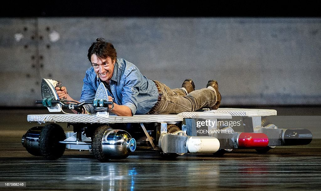 British presenter Richard Hammond pictured during the rehearsal of Top Gear Live at the Ziggo Dome in Amsterdam on April 26, 2013. The presenters of the BBC television program are back with their show in Amsterdam after three years. AFP PHOTO / ANP - KOEN VAN WEEL = netherlands out